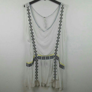 FREE PEOPLE BoHo Embroidered Tunic Tank Top Large